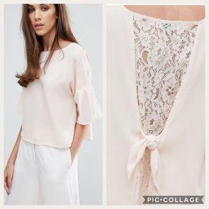 WAREHOUSE Blush Blouse Bow Lace Detail-12